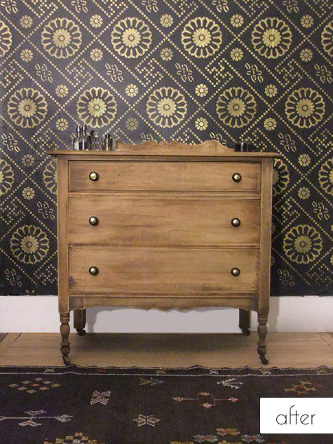 Love the new-school wallpaper and old-school drawers