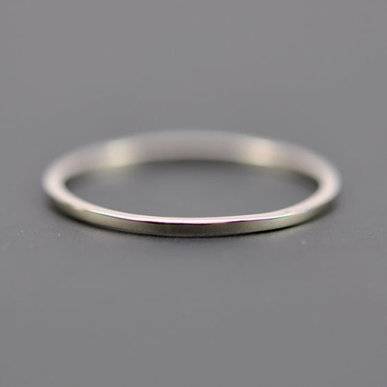 Skinny White Gold Wedding Band Square Edge 1mm by seababejewelry