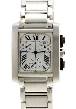 Cartier Mens Tank Francaise Stainless Steel Chronograph Watch