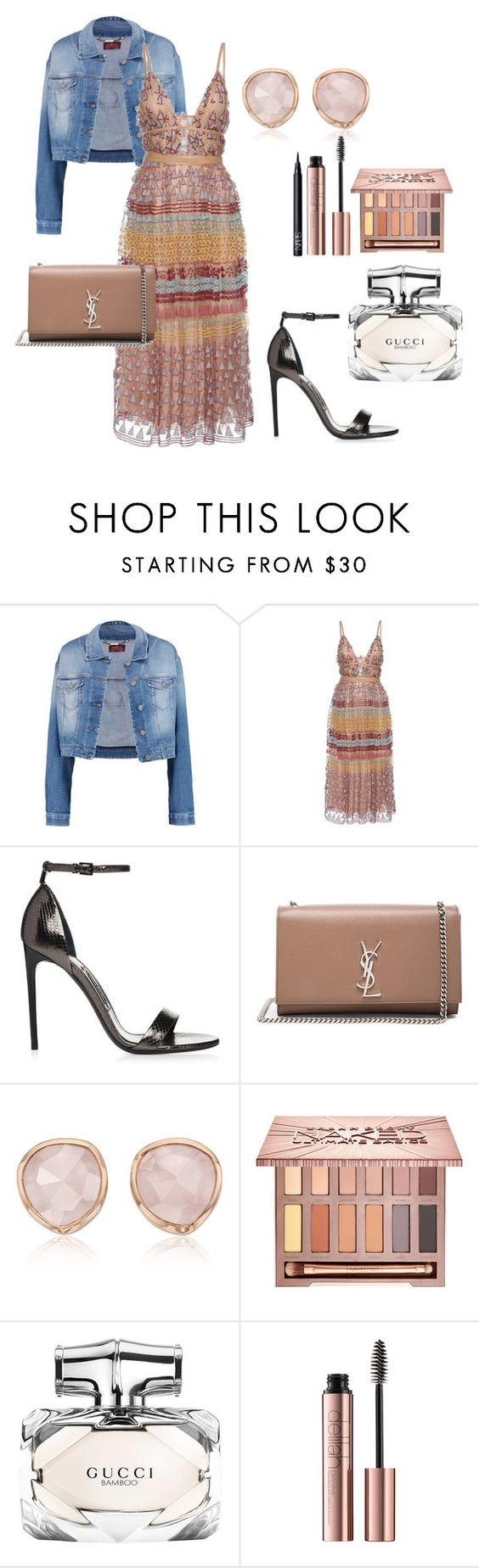 """""""Untitled #47"""" by deslightwood ❤ liked on Polyvore featuring 7 For All Mankind, Valentino, Yves Saint Laurent, Monica Vinader, Urban Decay, Gucci and NARS Cosmetics"""