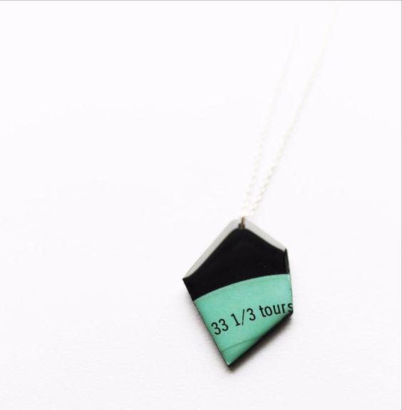Long geometric mint vinyl record necklace by Dana Jewellery