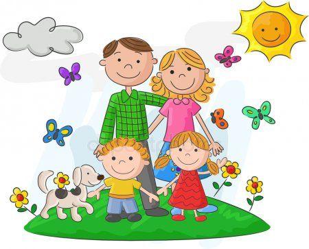 Dibujos Animados Familia Feliz Frente A Un Paisaje Hermoso Ilustracion De Stock Familia Feliz Dibujo Caricatura De Familia Imagenes De Familia