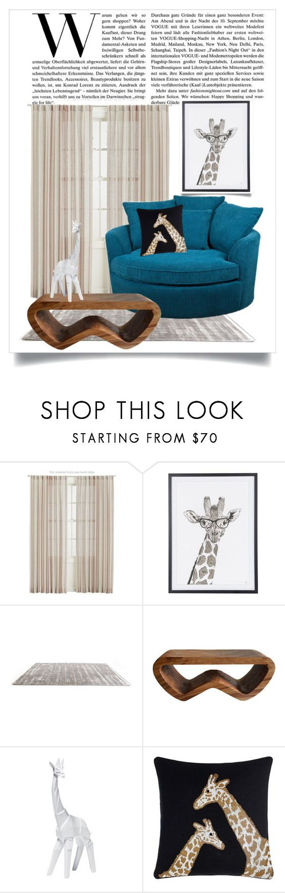 """""""A Lovely Giraffe Set"""" by hockey4ever15 ❤ liked on Polyvore featuring interior, interiors, interior design, home, home decor, interior decorating, Crate and Barrel, KARE and Jonathan Adler"""