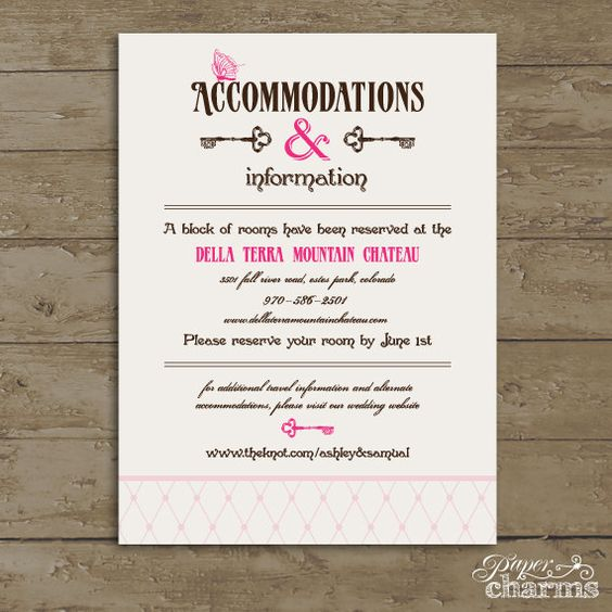 Accommodation Cards For Wedding Invitations: Wedding Accommodation Card Wording