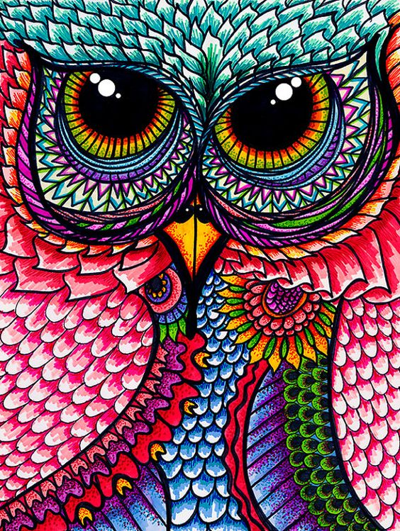Incognito By Mysweetfolly On Etsy 15 00 Owls Really Owl Drawings With Color