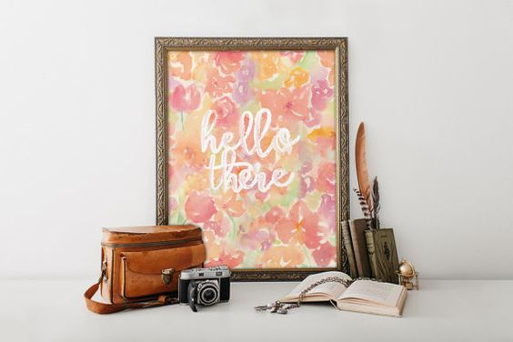 Home decor hello there print wall art decor poster, calligraphy print, digital typography calligraphy hand written floral print BD-301