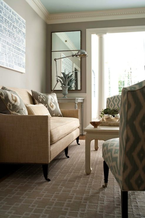 Muse interiors chic living room design with gray walls - Ivory painted living room furniture ...