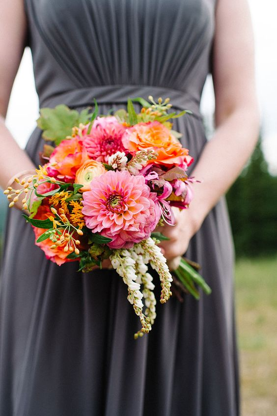 Stunning bridesmaid bouquet of gorgeous dahlias, ranunculus and pieris japonica ~ we ❤ this!