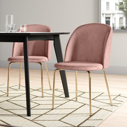 Leland Upholstered Dining Chair Hykkon Colour Pink In 2020