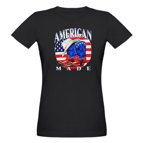 Good Artsmith, Inc. Organic Women's T-Shirt Drk American Made Country Cowboy Boots and Hat