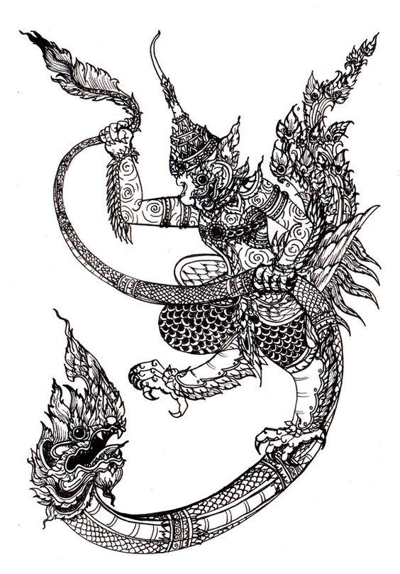 Thai Art- Naga & Garuda.