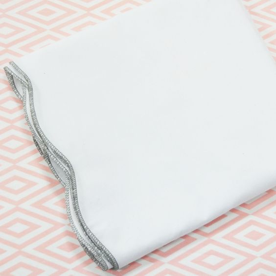 White Scalloped Crib Skirt with Gray Trim - this adds such a polished look to a crib without over-powering the sheets! #PNshop