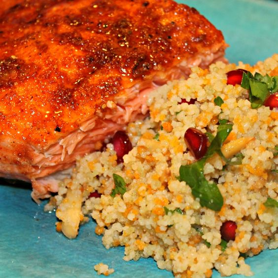 Pomegranate Chicken With Almond Couscous Recipe: Sweet Orange Salmon With Browned Butter-Orange Couscous