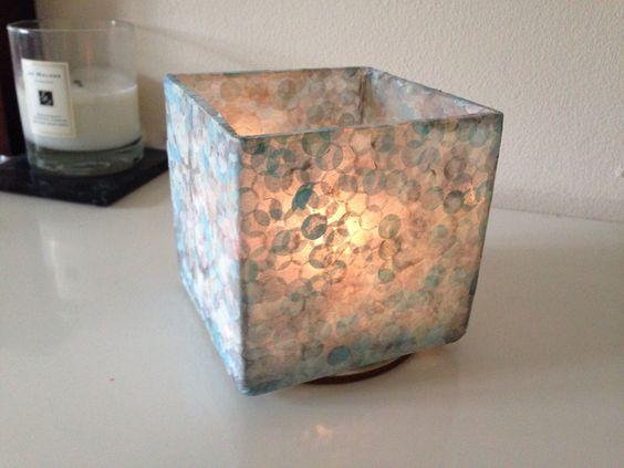 Mod Podge+ tissue paper= candle holder