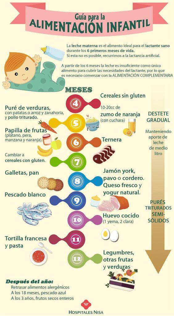 En esta Guía para la alimentación Infantil podrás encontrar de manera gráfica cuándo introducir los nuevos alimentos en la dieta de tu bebé  y cómo hacerlo.