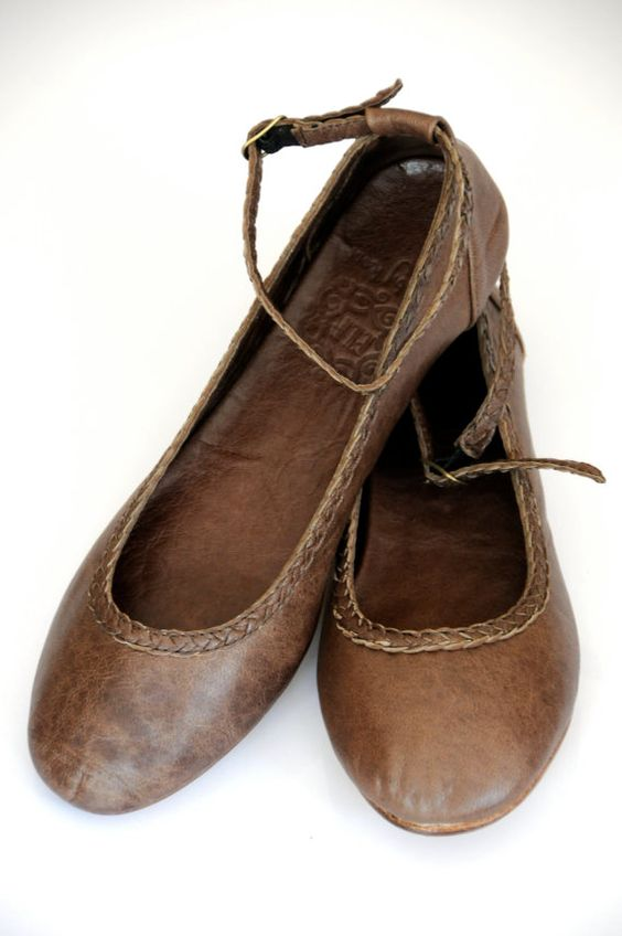 womens shoes leather ballet flats brown leather