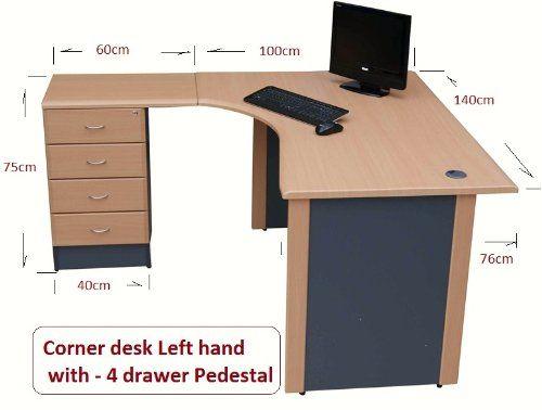 1 4 M Home Office Corner Desk Left Hand With 4 Drawer Pedestal Beech Dark Grey Amazon Co Uk Corner Desk Corner Desk Office Desk