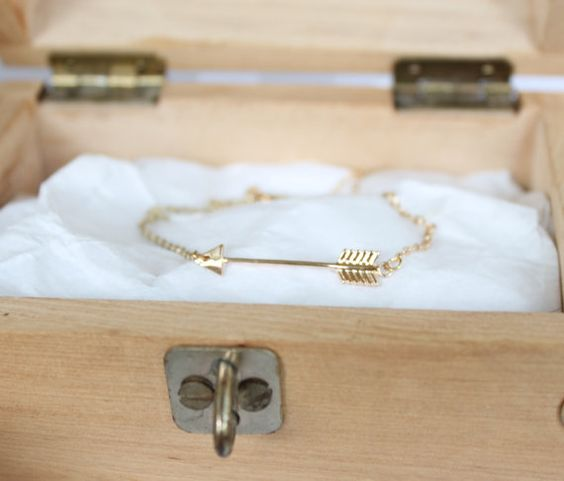 Dainty Arrow Charm Bracelet with extension chain + lobster clasp, Choice of 18k Gold Plated or Silver Plated Finish