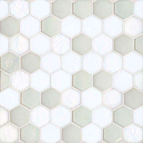 Kahakai Floor Wall Mosaic In Coconut Tiles Glass Mosaic Tiles