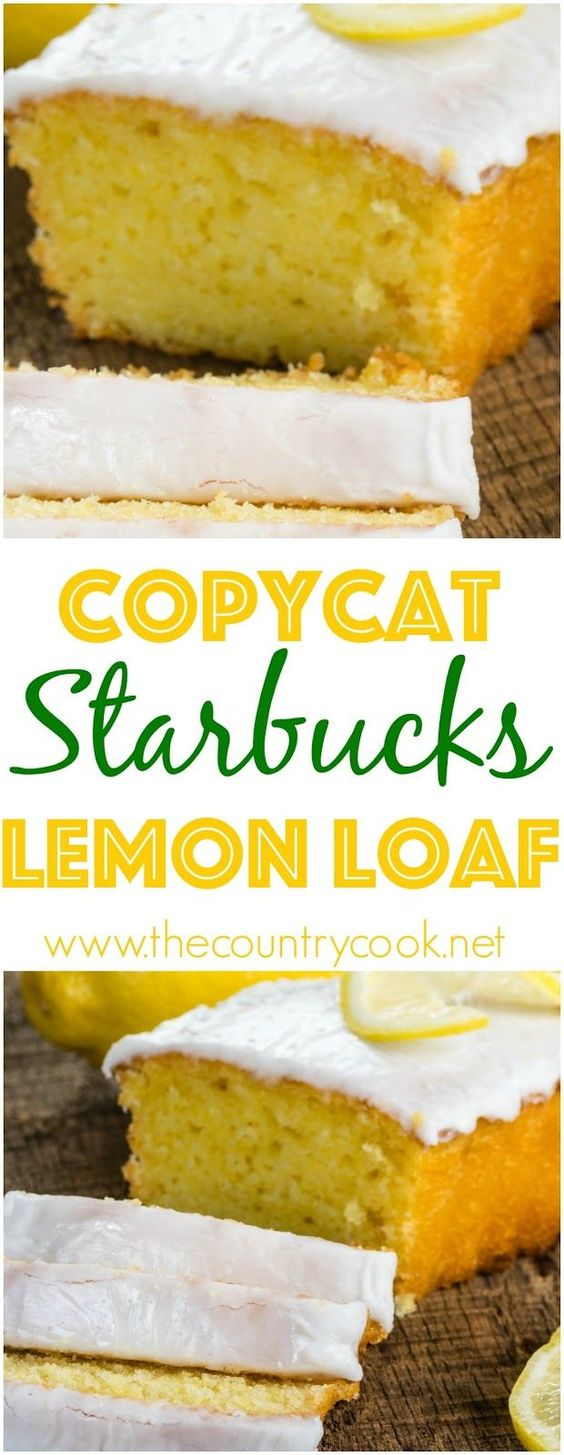 Copycat Starbuck's Lemon Loaf Recipe via The Country Cook #dessertbreads #neighborgifts #homemadegifts #foodgifts #breadrecipes #flavoredbreads #sweetbreads #holidaybread #bread #homemadebread #simplebreadrecipes #simplebread #simplerecipes