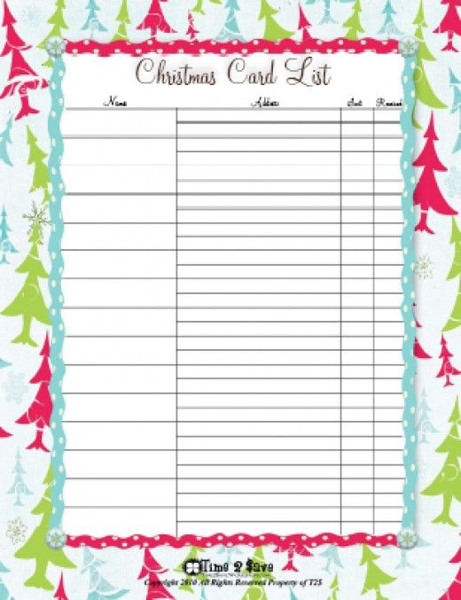 photograph relating to Printable Christmas Card List identify Totally free Printable Xmas Card Record Templates