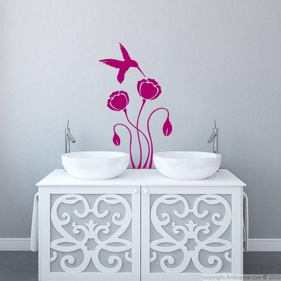Stickers muraux pour salle de bain sticker mural colibri - Stickers muraux pour salle de bain ...