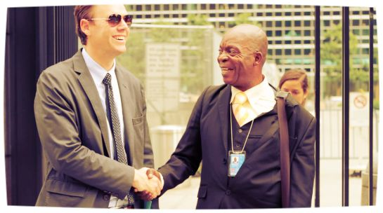 Invisible Children CEO, Ben Keesey, and Father Benoit at the UN after its news conference on the #LRA. For more pictures and recaps, and the 3.7 million pledges hand off, visit our blog or click the picture above.