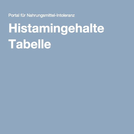 Histamingehalte Tabelle