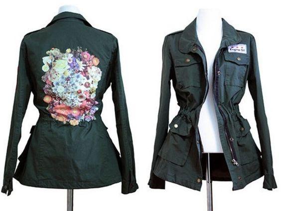 "Warme Jacken - parka - warme Militär Jacke ""blume"" kakhi - ein Designerstück von kawaii-toxic bei DaWanda"