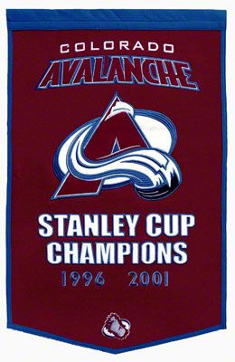 Colorado Avalanche Commemorative 2-Time Stanley Cup Champions Wool Banner