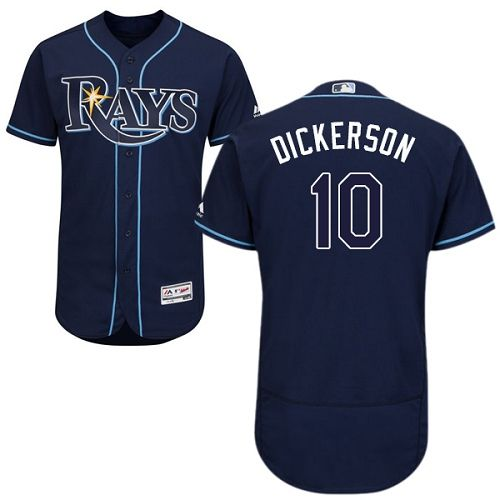 Men S Corey Dickerson Majestic Tampa Bay Rays 10 Navy Blue Alternate Flex Base Authentic Collection Mlb Jersey Tampa Bay Rays Mlb Tampa