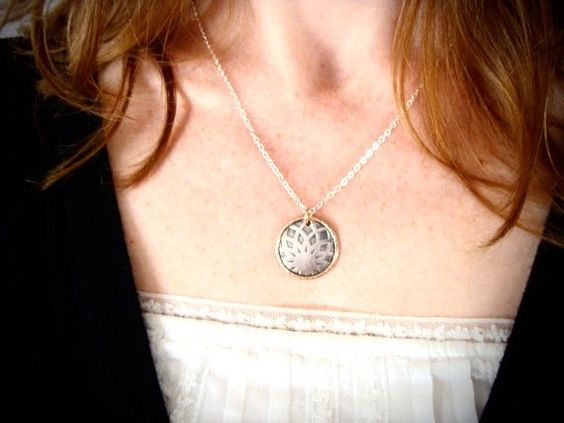dahlia mixed metal pendant by sirenjewels on Etsy