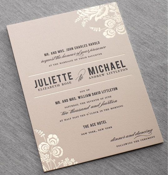 Love the metallic neutral tone + the feminine contemporary style of these invitations by Dauphine Press