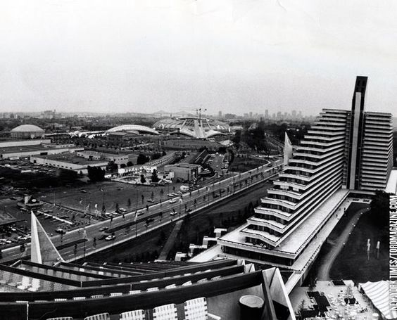 The Montreal Olympic Stadium under construction.