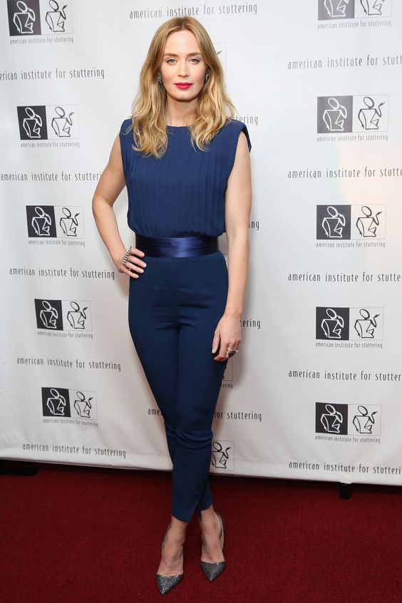 Emily Blunt in a blue jumpsuit - click through to see this week's best dressed list