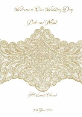 Isabella Lace Order of Service Cover in Gold Fusion - DreamDay Invitations