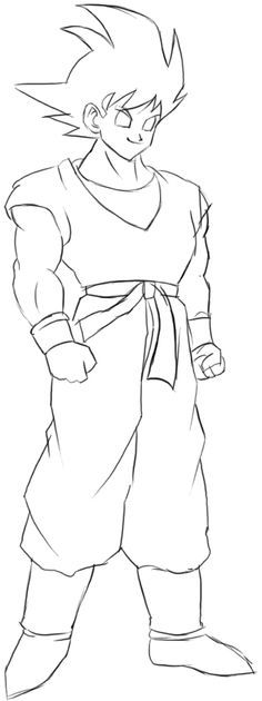 How To Draw Goku From Dragon Ball Z With Easy Step By Step Drawing Tutorial How To Draw Step By Step Drawing Tutorials Goku Drawing Easy Dragon Drawings Drawing Tutorial