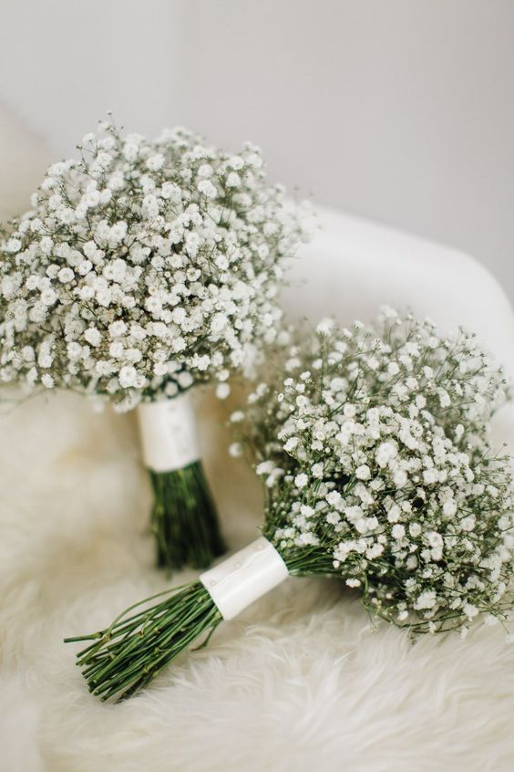 Gypsophila Bouquets - M&J Photography   Elegant London Wedding   White & Greenery Florals