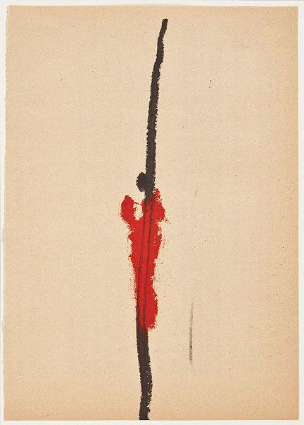 rote Figur vor Schrift Karl Bohrmann