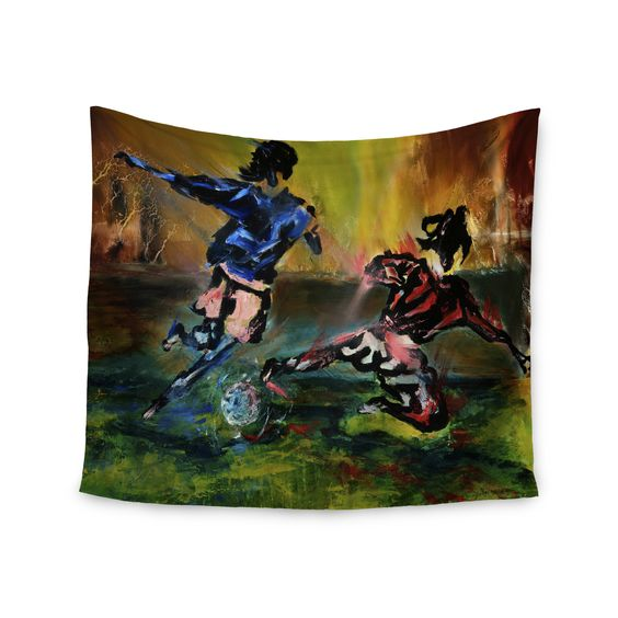 """Josh Serafin """"Slidetackle"""" Soccer Wall Tapestry"""