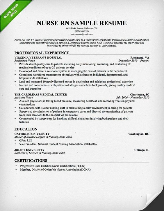 Nurse Resume Template Medical Resume Template by ResumeSouk - cover letter for rn