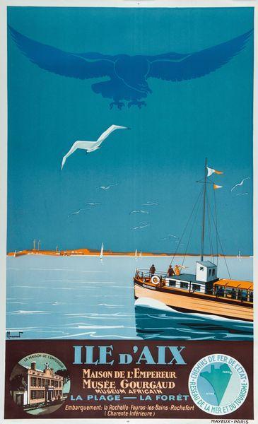 chemins de fer de l'état - Ile d'Aix - Charente - illustration de Pierre Commarmond - France -