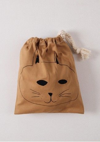 Bobo Choses Petit Cat Bag: Library Bag, Cat Bag, Bag Knikkerzakje, Bags Printed, Cat Sack, Drawstring Bags