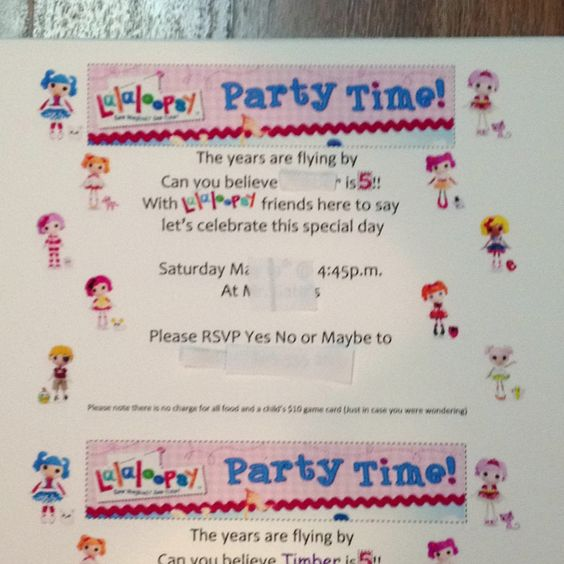 Lalaloopsy invitation. After spending days collecting images this is what SHE wanted. Everything was done with Microsoft Word using an Avery greeting card template. This is for the moms and dads that want to do it their way.(basically please don't let me see this for sale anywhere) Thanks