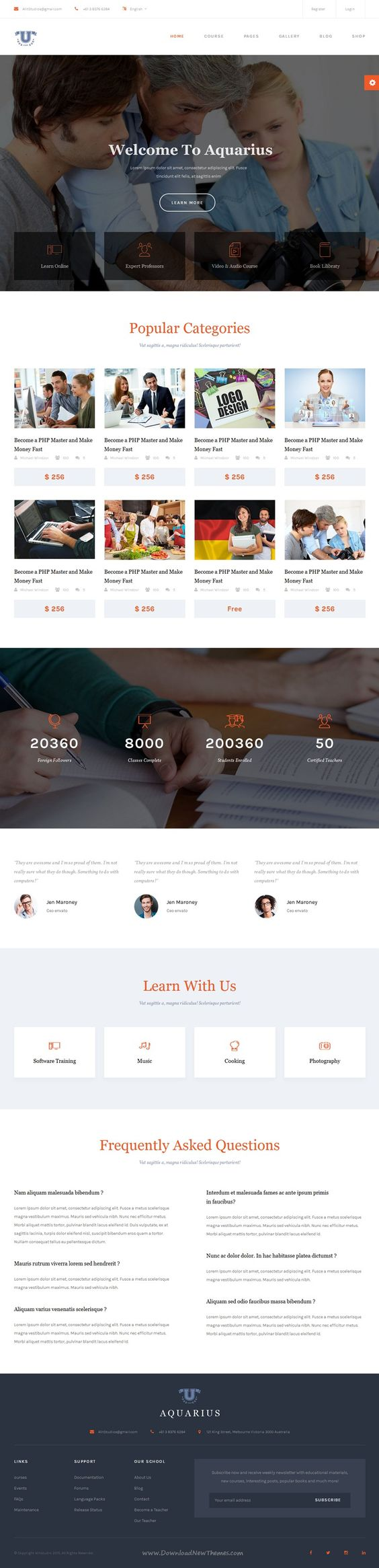 modern colleges and templates aquarius is a modern creative responsive bootstrap template for educational institutions like universities