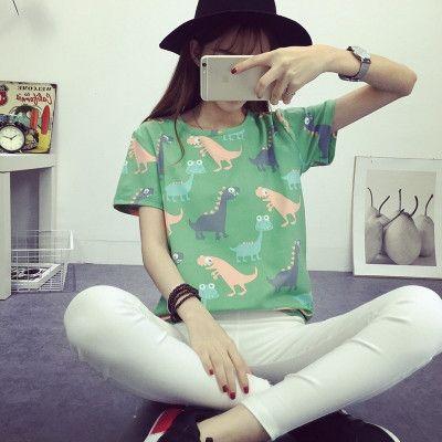 Korean Retro Animal Dinosaur Printing T shirt Women 2016 Summer Japanese Harajuku Style Short-sleeved T-shirt Woman Tops S-XL