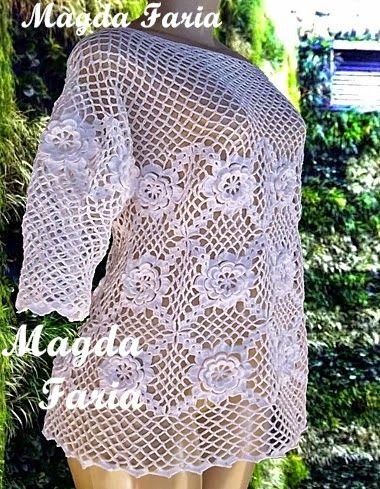 Crochê Magda Faria : Blusa Luana