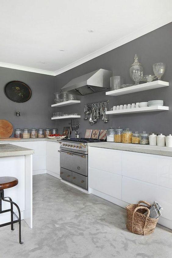 peinture murale de cuisine grise et blanche: