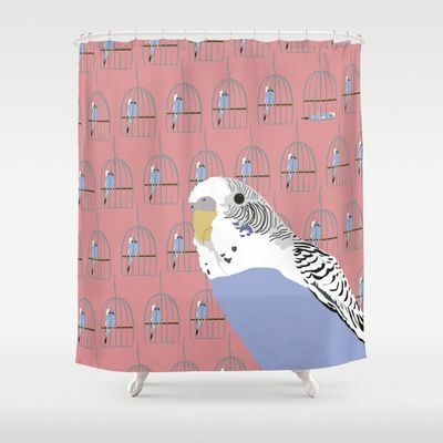 The Budgie Gallery Giftshop Shower Curtain by Fjærdrakt - $68.00