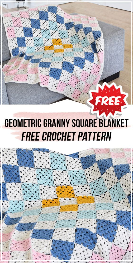 Crochet Geometric Granny Square Blanket Free Pattern Easy Crochet Blanket Free Baby Blanket Patterns Granny Square Crochet Pattern